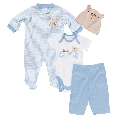 Gerber® Newborn Boys' 4 Piece Set - Blue 0-3 M