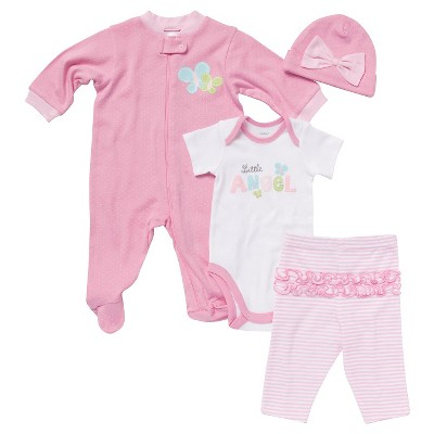 Gerber® Newborn Girls' 4 Piece Set - Pink 0-3 M