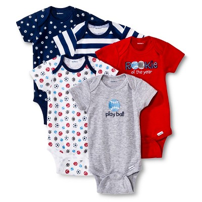 Gerber® Newborn Boys' 5 Pack Sports Onesie® Set 0-3 M