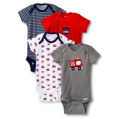 Gerber® Newborn Boys' 4 Pack Firetruck Onesie® 9 M