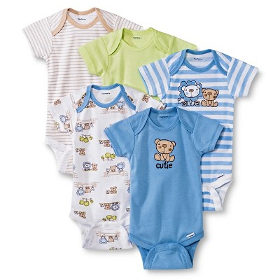 Gerber® Newborn Boys' 5 Pack Lion Onesie® Set 0-3 M