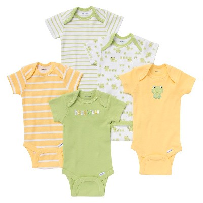 Gerber® Newborn 5pk Frog Onesie® - Yellow/Green NB