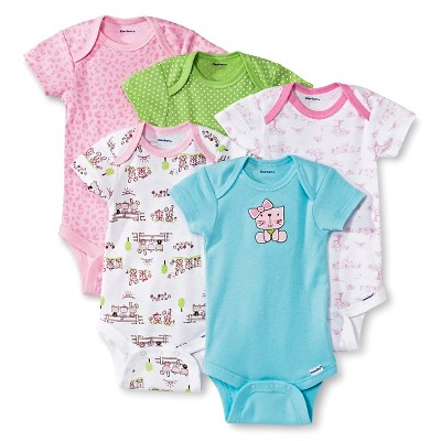 Gerber® Newborn Girls' 5 Pack Kitty Onesie® Set 3-6 M