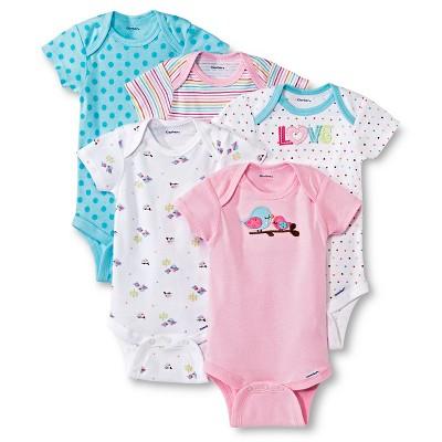 Gerber® Newborn Girls' 5 Pack Bird Onesie® Set NB