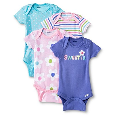 Gerber® Newborn Girls' 4 Pack Sweetie Onesie® 24 M