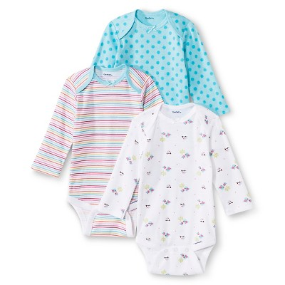 Gerber® Newborn Girls' 3 Pack Long-sleeve Bird Print Onesie® Set 3-6 M