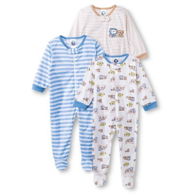 Gerber® Newborn Boys' 3 Pack Animal Sleep N' Play Set 0-3 M