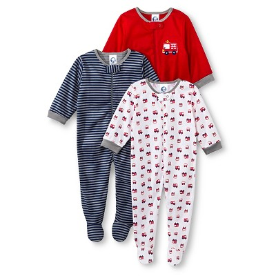 Gerber® Newborn Boys' 3 Pack Firetruck Sleep N' Play Set 0-3 M