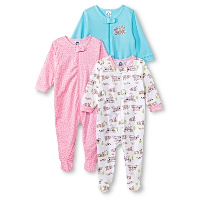 Gerber® Newborn Girls' 3 Pack Kitty Sleep N' Play 0-3 M