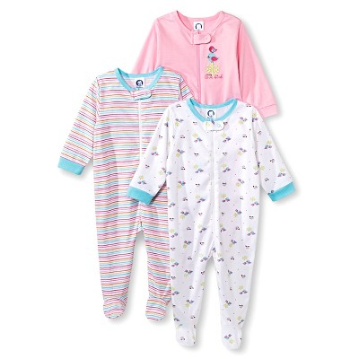 Gerber® Newborn Girls' 3 Pack Birds Sleep N' Play 3-6 M
