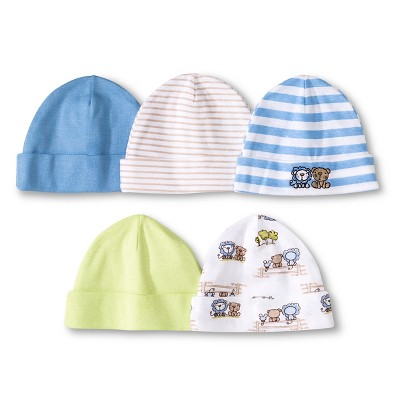 Gerber® Newborn Boys' 5 Pack Cap Set - Light Blue