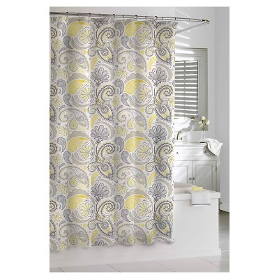 Kassatex Paisley Shower Curtain - Yellow/Grey