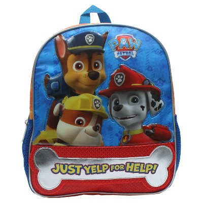 "Nickelodeon 14"" Paw Patrol Terrific Trio Kids Backpack - Blue/Red"