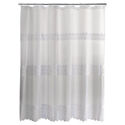 Eyelet Embroidered Lace Shower Curtain - White