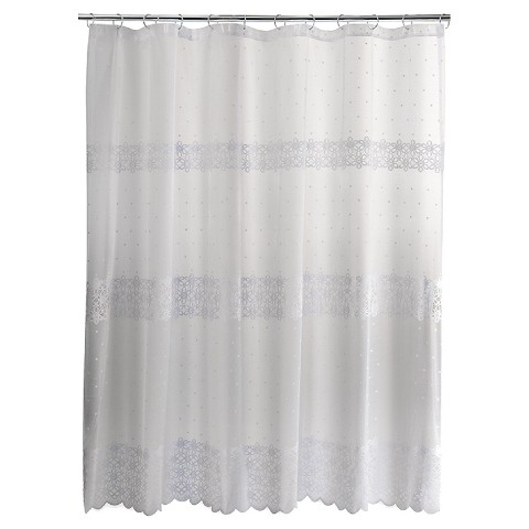Eyelet Embroidered Lace Shower Curtain