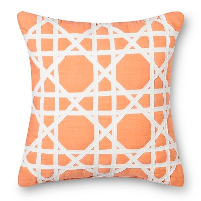 Threshold™ Cane Pattern Decorative Pillow - Coral