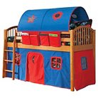 Bolton Mansfield Honey Low Loft Tent Bed with Ladder and Guardrails - Red/Blue