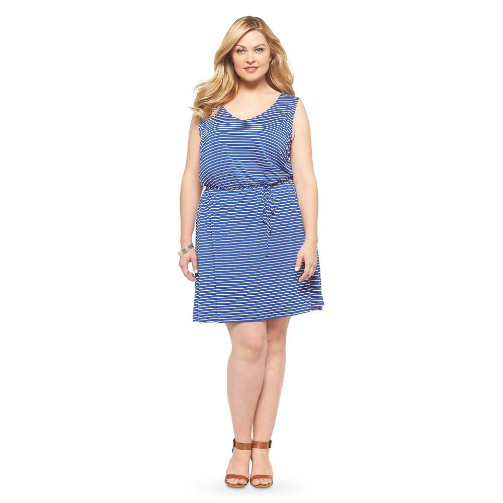 Plus Size Sleeveless Knit Dress Blue/White Mossimo Supply Co.
