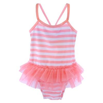 Newborn Girls' Striped Tutu One Piece Swimsuit - Pink/White 3-6 M