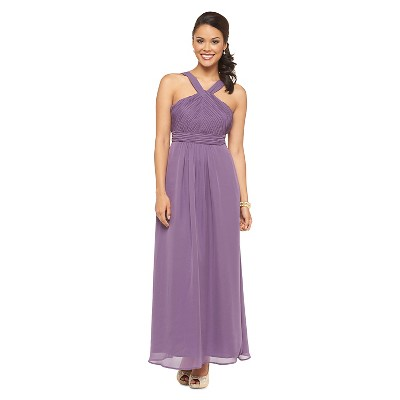Women's Chiffon Halter Maxi Bridesmaid Dress Plum Spice 12 - TEVOLIO&#153