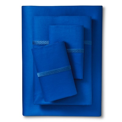 Elite Home Wrinkle Resistant 300TC Embroidary Sheet Set- Marine (California King)