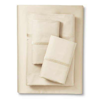 Elite Home Wrinkle Resistant 300TC Embroidary Sheet Set - Ivory (Queen)