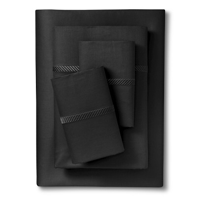 Elite Home Wrinkle Resistant 300TC Embroidary Sheet Set - Black (Queen)