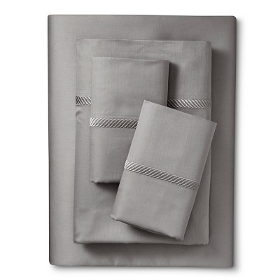 Elite Home Wrinkle Resistant 300TC Embroidary Sheet Set - Gray (Full)