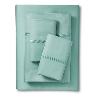 Elite Home Wrinkle Resistant 300TC Embroidary Sheet Set - Spa Blue (Full)