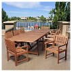 Dania Beach 9pc Eucalyptus Extendable Rectangular Patio Dining Set - Brown