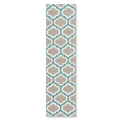 "Threshold™ Indoor/Outdoor Flatweave Fretwork Runner - Aqua (1'10""X7')"