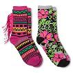 Women's Fashion Socks 2pk Pink Fringe/Hibiscus - Xhilaration®
