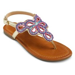 Girl's Cherokee® Frances Beaded Thong Sandals - Gold 6
