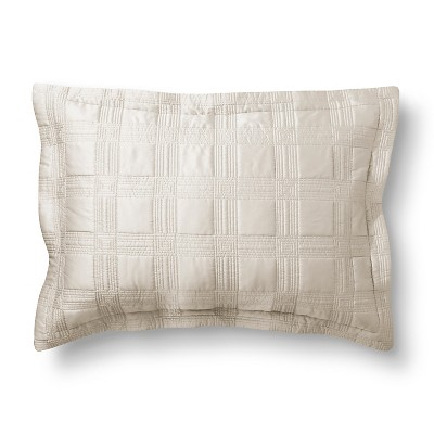 Silk Allure Grid Sham Standard Cream - Fieldcrest™