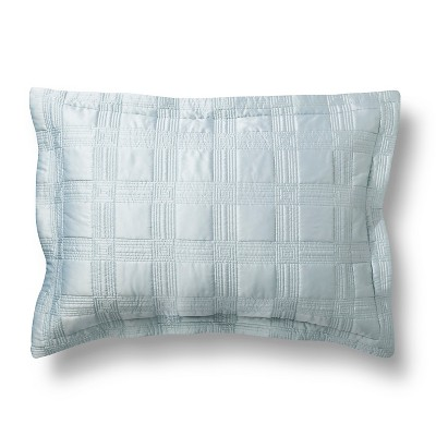 Fieldcrest® Luxury Silk Allure Grid Sham - Blue (Standard)