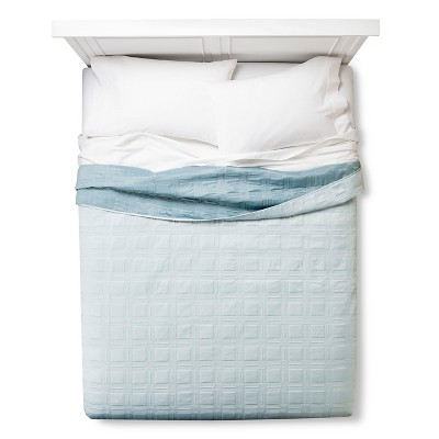 Fieldcrest® Luxury Silk Allure Grid Quilt - Blue (Queen)