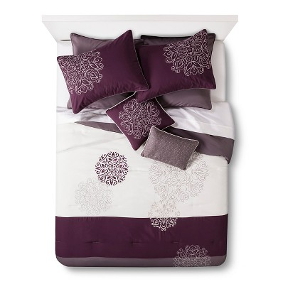 Cora 8 Piece Comforter Set - Plum/Gray (California King)