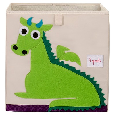 3 Sprouts Fabric Cube Storage Bin - Dragon