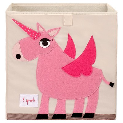 3 Sprouts Fabric Cube Storage Bin - Unicorn