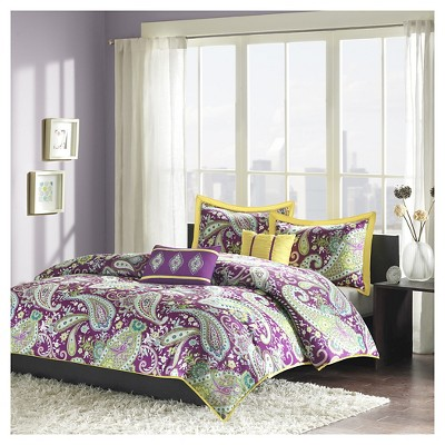Maya 5 Piece Duvet Cover Set - Purple (Full/Queen)