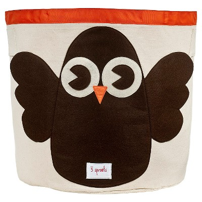 3 Sprouts Canvas Extra Large Round Storage Bin - Owl