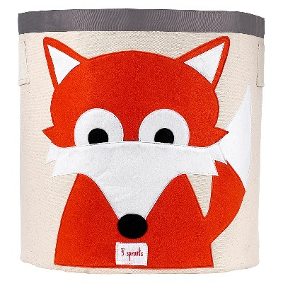 3 Sprouts Canvas Extra Large Round Storage Bin - Fox