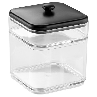 InterDesign Tier Stacking Canister with Lid Clear/Black