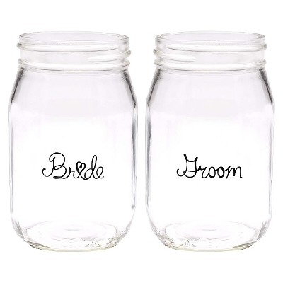 Wedding Party Mason Jars - Bride & Groom