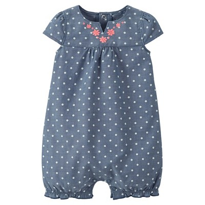 Just One You™Made by Carter's® Newborn Girls' Chambray Polka Dot Romper 6 M