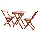 Vifah Premium Hardwood 3-Piece Bistro Set - Brown