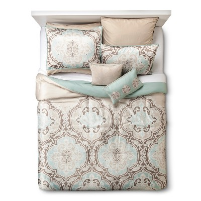 Savoie 8 Piece Comforter Set - Blue Satin (California King)