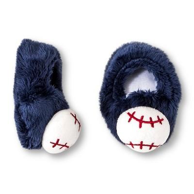 Gerber® Newborn Boys' Baseball Velboa Bootie - Blue