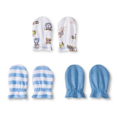 Gerber® Newborn Boys' 3 Pack Mitten Set - Blue