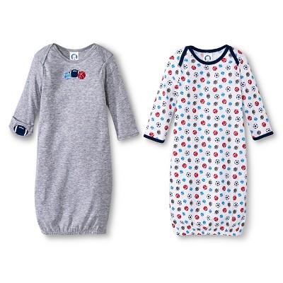 Gerber® Newborn Boys' Sports 2 Pack Gown - Grey/Blue